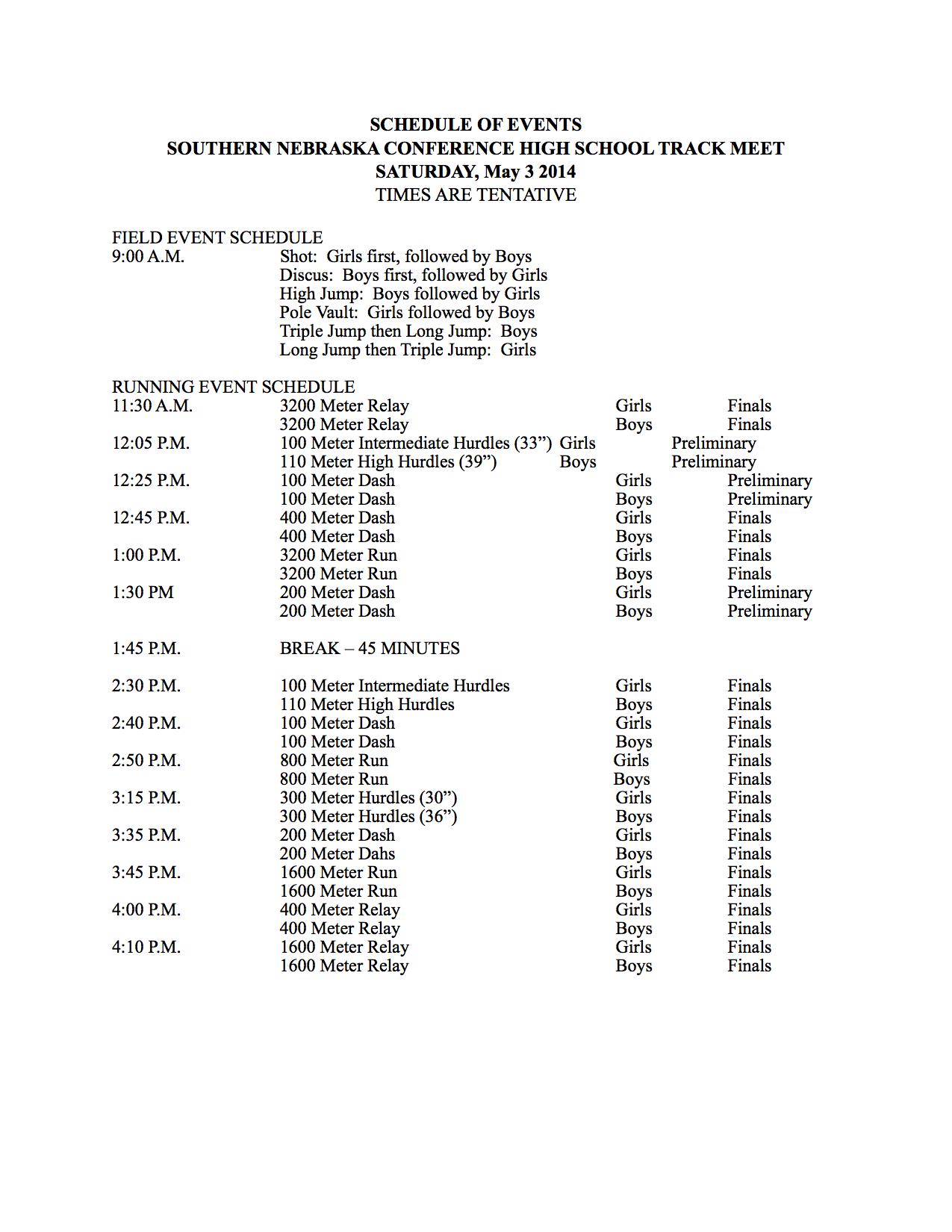 meet schedule of events